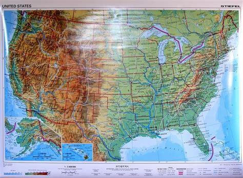 usa mapa fizyczna stany zjednoczone usa mapa ścienna dwustronna