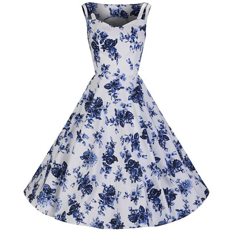 rockabilly swing white blue vintage floral blossom rockabilly swing dress