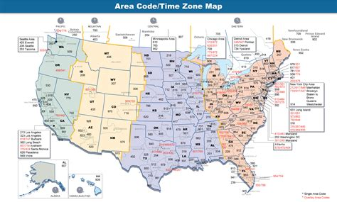 zip code map of the united states area codes and time zones of the united states and canada