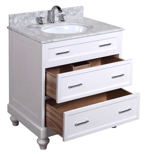 amelia 30 inch bathroom vanity carrara white includes a