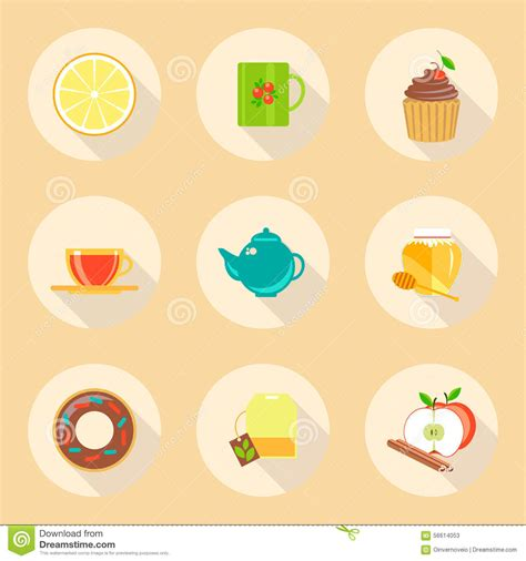 design icon template tea time flat design icons set template elements stock