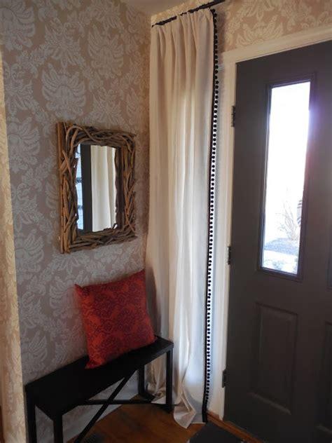 diy sidelight curtains pom pom fringe curtain panels sidelight curtain panels