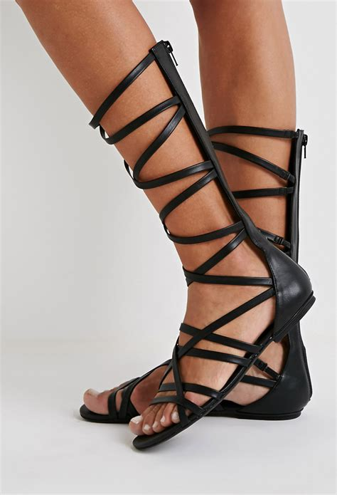 mid calf gladiator sandals forever 21 strappy mid calf gladiator sandals in black lyst