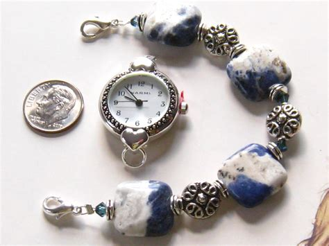 beaded watches interchangeable beaded blue band blue and white