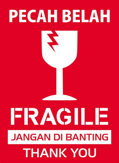 Sticker Fragile Murah Ukuran 10 X 6 Cm jual sticker fragile paling murah uk 8x11 cm seven