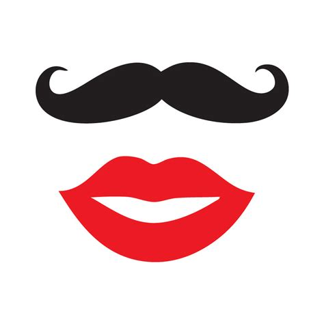 lips from wedding red black printable photo booth prop set mustache and lips clipart