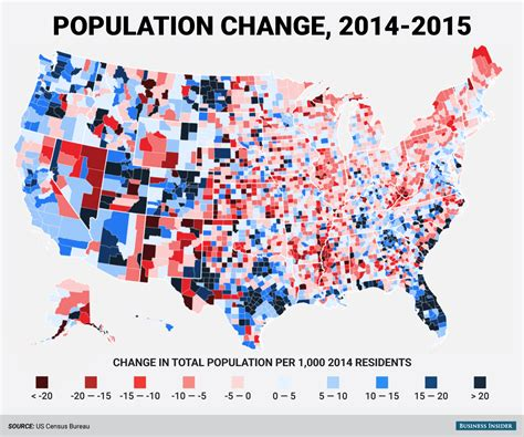 demographic map of the united states county population change map business insider