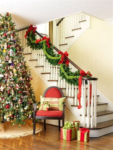 garland for stair banister red and green stair garland pictures photos and images