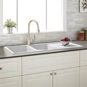 White Sinks For Kitchen 46 Quot Tansi Bowl Drop In Granite Composite Sink With