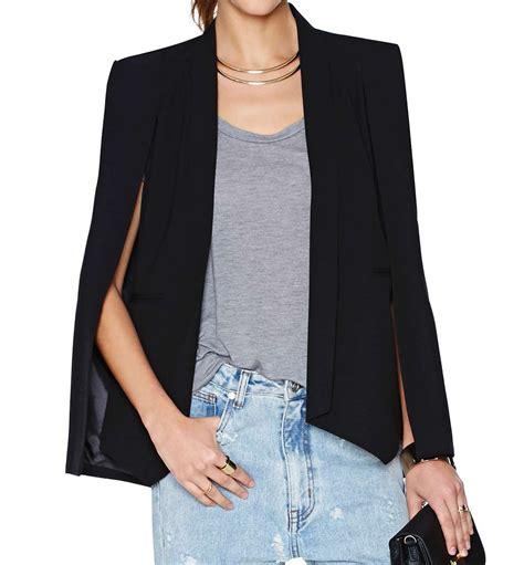 Just Say No To Sleeve Jackets by Split Sleeve Angled Hem Cape Blazer