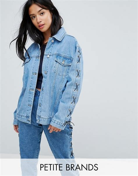 Lace Up Sleeve Denim Jacket chorus chorus lace up sleeves oversized