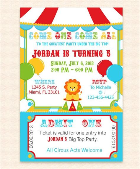 big top circus printable invitation design editable