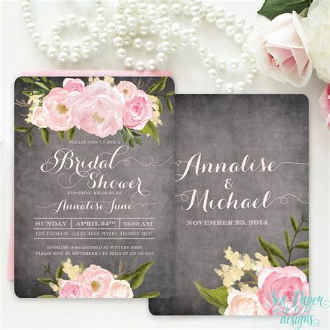 chalkboard floral bridal shower invitation with pink blush