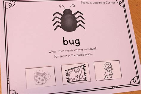 Words That Rhyme With Rug by Printable Rhyming Mats Mamas Learning Corner