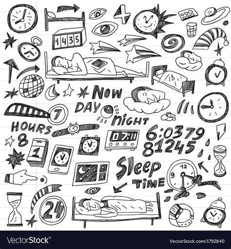 doodle how to add times sleep time doodles set vector