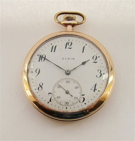 antique 1915 elgin gold plated pocket 283158