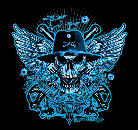 dcla skull us army calvary digital art by david cook los