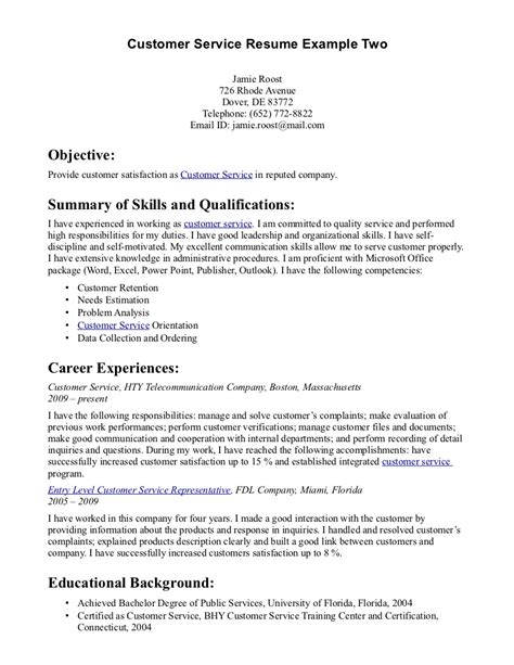 Resume Exles For A Customer Service Doc 8491099 Objective In Customer Service Resume Bizdoska