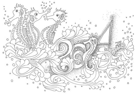 Coloriage Adulte Mer Hippocampes 6