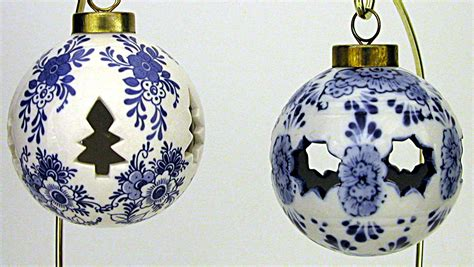 set of 2 blue delft ball ornaments christmas ornaments