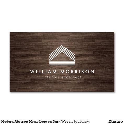 home interior business modern abstract home logo on woodgrain business card