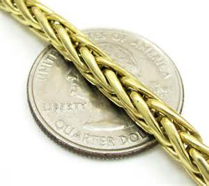 14k solid yellow gold wheat link chain 30 inch 4 5mm