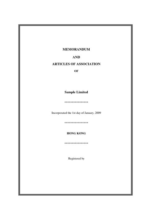 templates for articles of association memorandum and articles of association template free