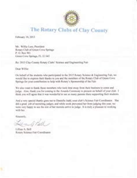 Thank You Letter To Your Science Science Fair Judging Thank You Letter Rotary Club Of Green Cove Springs