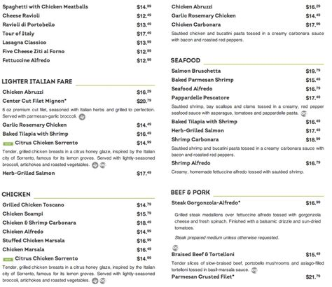 Oliva Garden Menu by Menu For Olive Garden 5550 N Federal Hwy