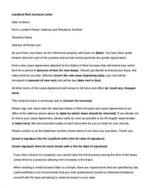 Letter From Landlord To Increase Rent Sle Rent Increase Letter 5 Free Sle Exle Format Free Premium Templates