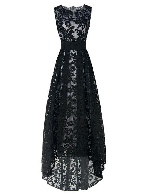 black pattern lace dress new style big discount black lace sleeveless high low maxi