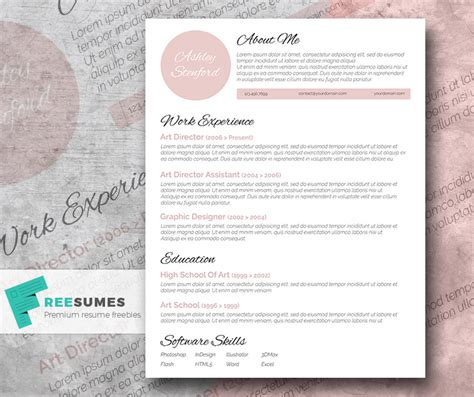 Pretty Resume Templates Free by Touch Of Pink A Beautiful Free Resume Template