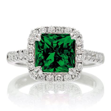 1 5 carat cushion cut emerald halo engagement ring for