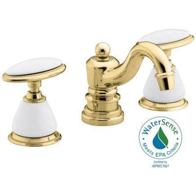 shop kohler antique vibrant polished brass high arc kohler antique 8 in 2 handle low arc bathroom faucet in