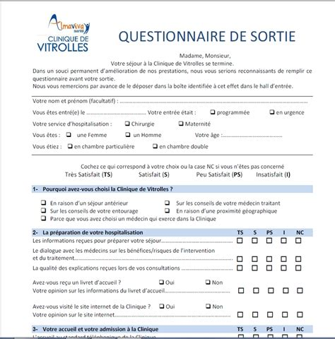 Modèle Questionnaire De Satisfaction exemple questionnaire de satisfaction patient document