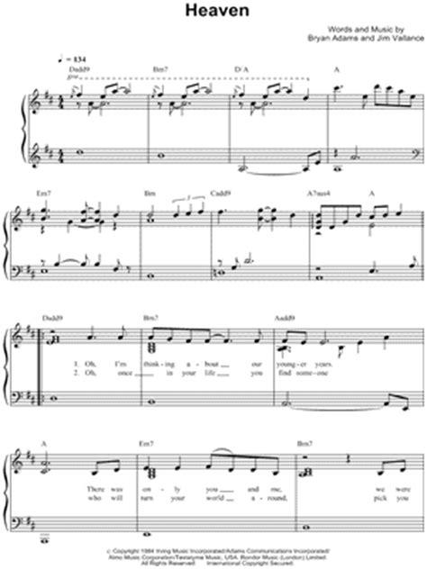 bryan adams heaven download bryan adams quot heaven quot sheet music easy piano download