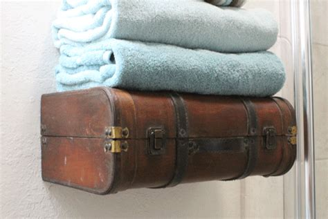 How To Make A Suitcase Shelf by Something Created Everyday Retreat Bathroom Reveal