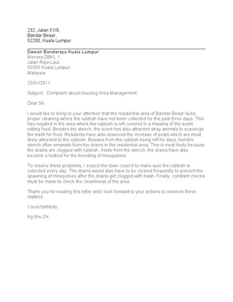 Complaint Letter Mosquitoes Complaint Letter Place