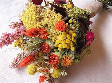 Dried Flowers by Rustic Wedding Bouquet Bridal Dried Bouquet Dried