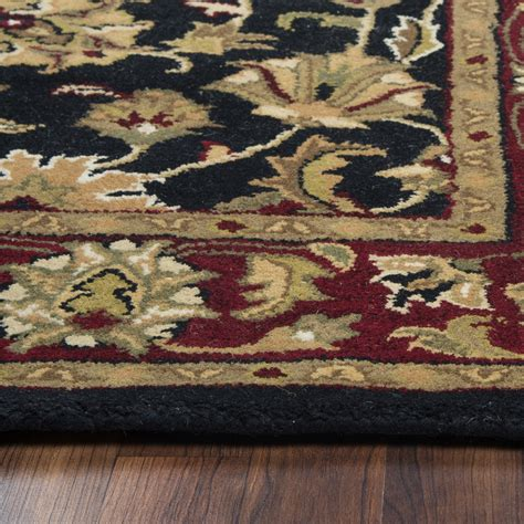 Wool Runner Rugs by Volare Ornate Vine Pattern Wool Runner Rug In Black