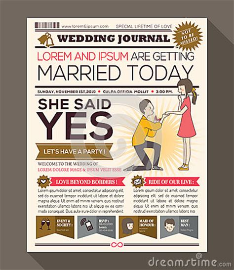 newspaper invitation template free newspaper wedding invitation card design stock