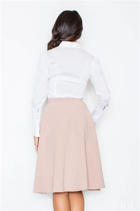 pale pink midi length pleated skirt with belt