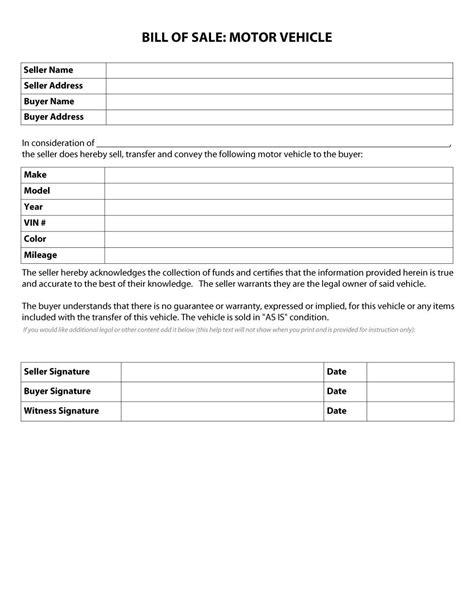 blank bill of sale for automobile oyle kalakaari co