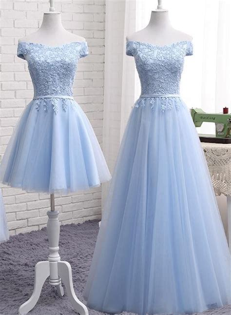 light blue tulle bridesmaid dress cap sleeves short
