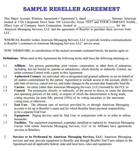 8 Sle Free Reseller Agreement Templates To Download Sle Templates Reseller Agreement Template Free
