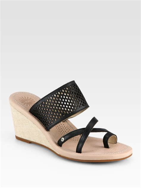 canvas wedge sandals ugg neghan leather canvas wedge sandals in black lyst