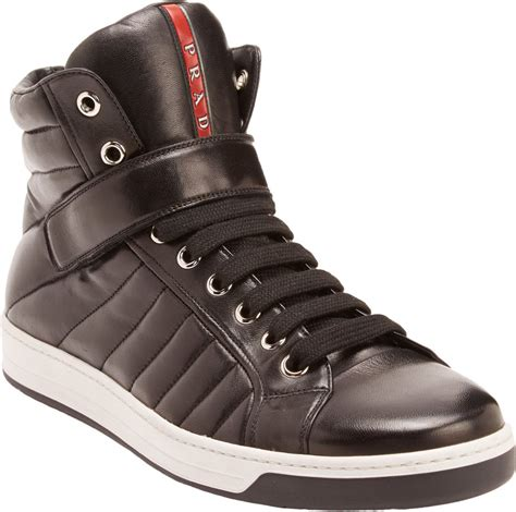 Rossa Top Black prada quilted leather high top sneakers in black for lyst