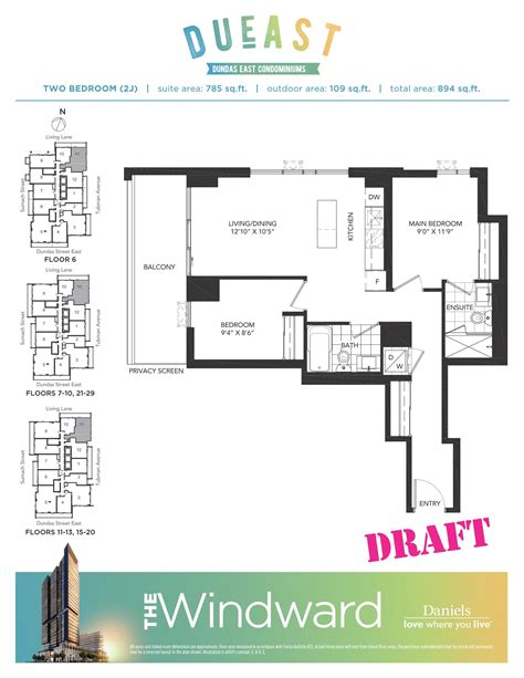 daniels high park floor plans daniels high park floor plans dueast condos floorplans