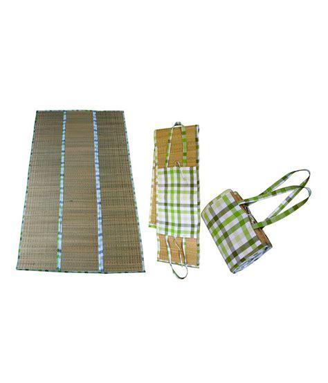 Straw Picnic Mat by Maxican Green Checks Roll Up Straw Picnic Mat