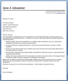 cover letter for health cover letter health information technician resume downloads